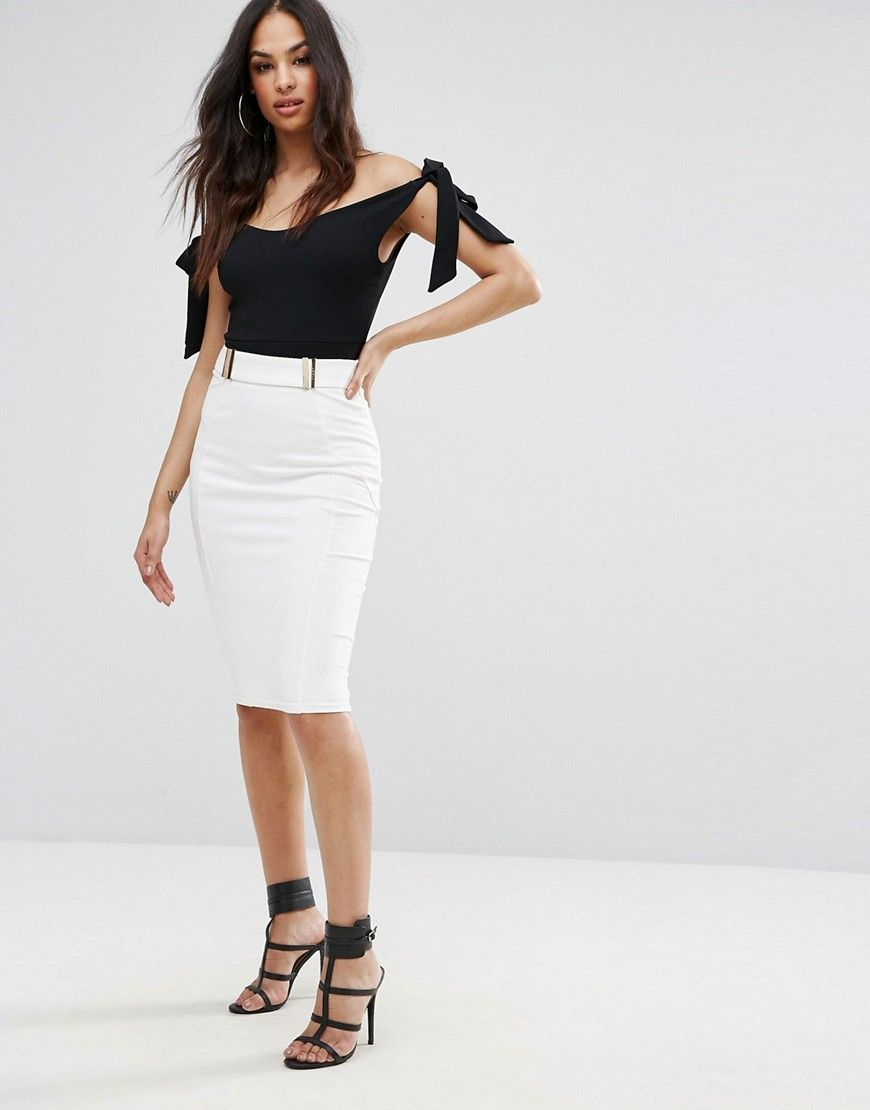 a1f9e8a02 Lipsy Faux Leather Trim Pencil Skirt With Gold Detail - White ...