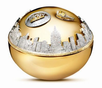 New DKNY Golden Apple fragrance flacon includes real diamonds,yellow sapphires and yellow canary diamond