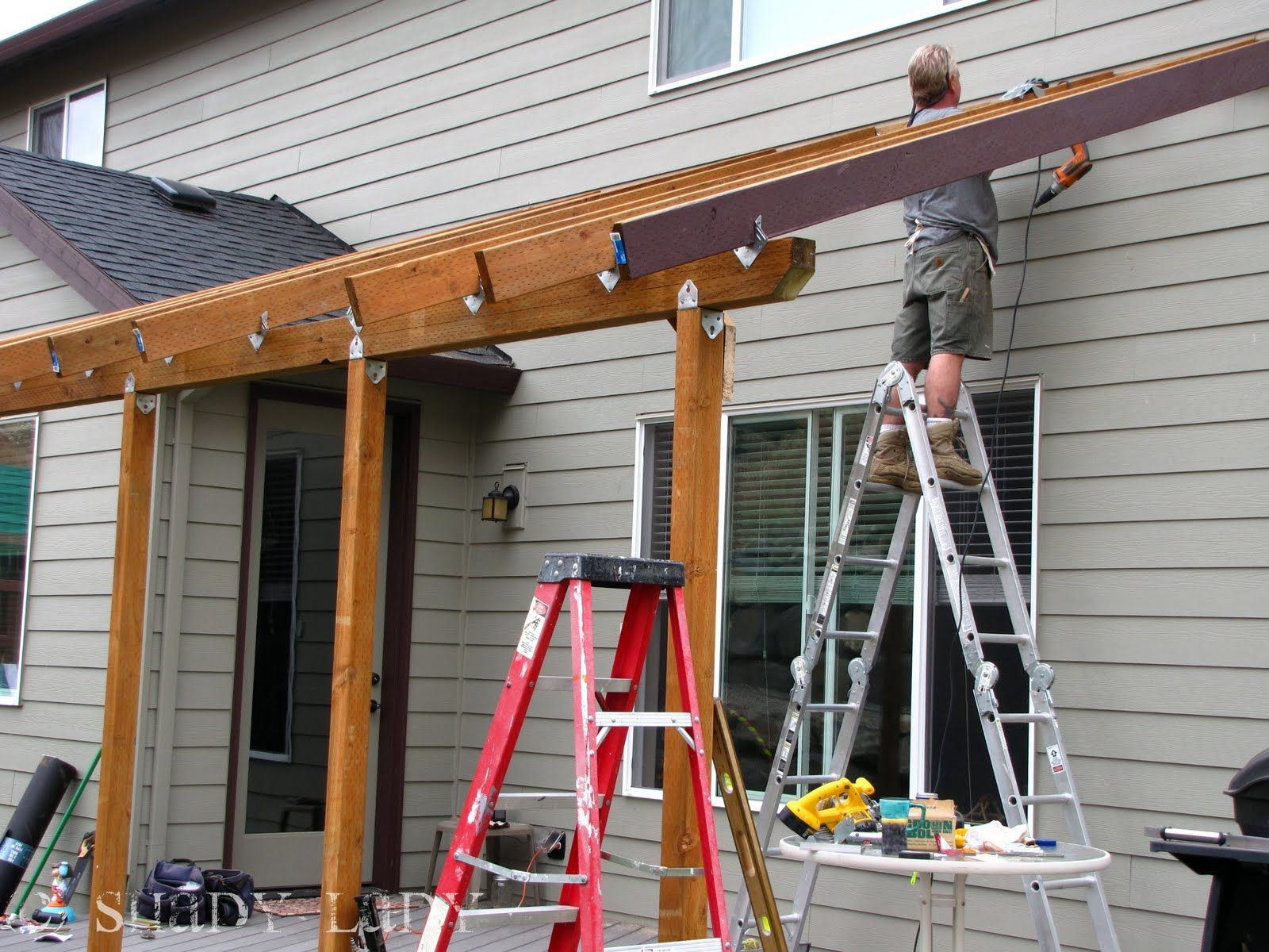 Patio roof backyard deck pinterest build a deck for Patio construction ideas