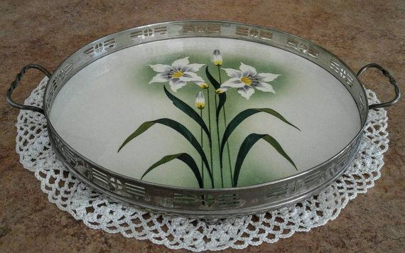 Vintage Lily Porcelain Serving Tray Porcelain Amp Metal Bmf