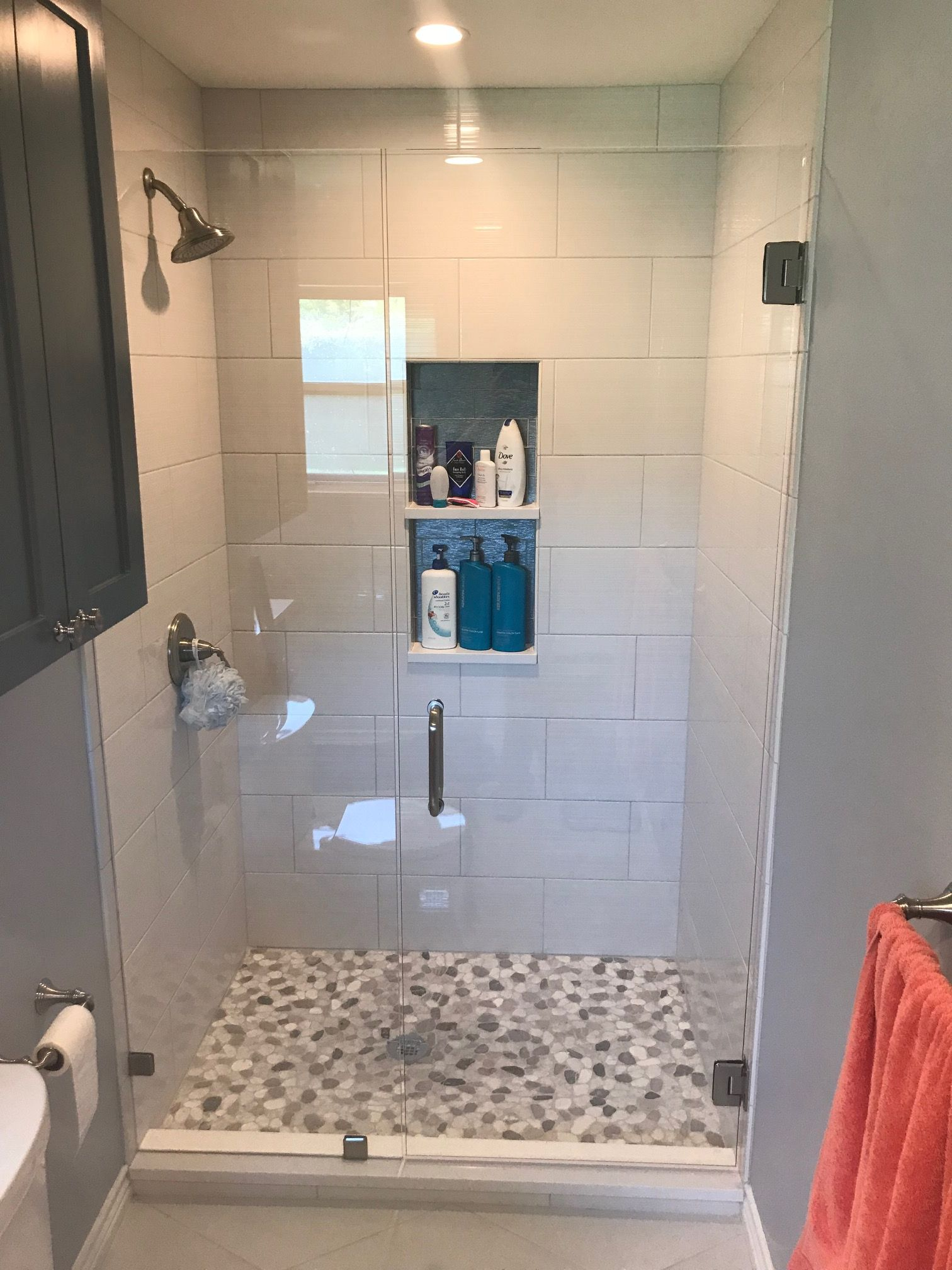 Dallas Bath Gl Inc Frameless Inline Door And Panel With Standard Crl Brushed Nickel Hardware 3 8 Heavy Clear