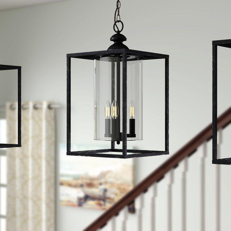 Darby Home Co Didmarton 3 Light Lantern Square Pendant Wayfair In 2020 Lantern Lights Black Pendant Light Geometric Chandelier