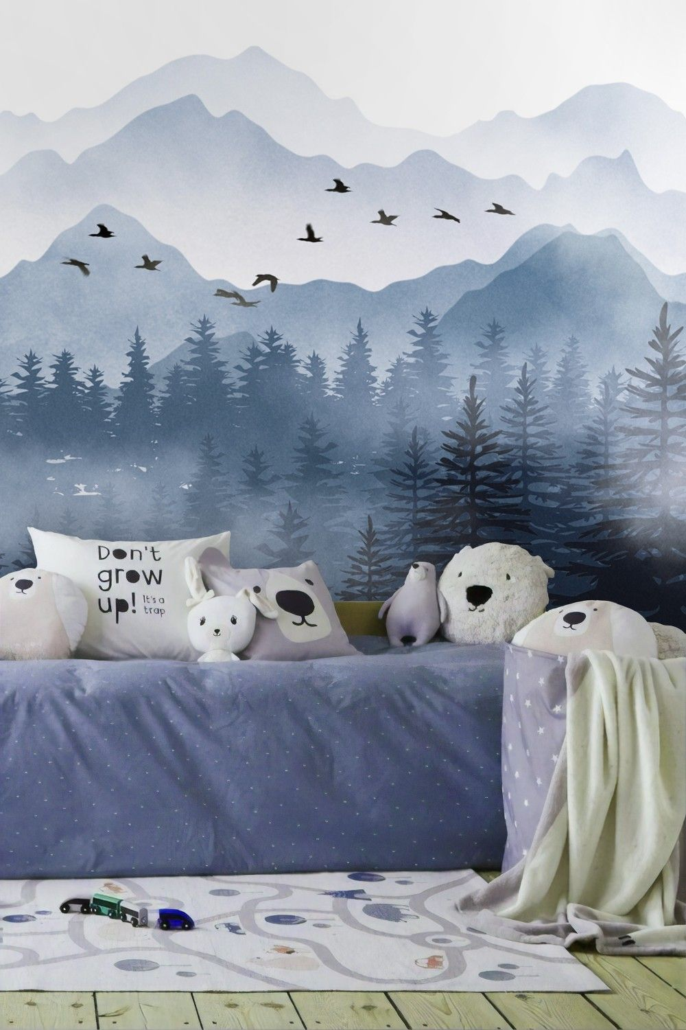 Photo of Monochrome Mountainscape with Misty Forest Wallpaper Mural