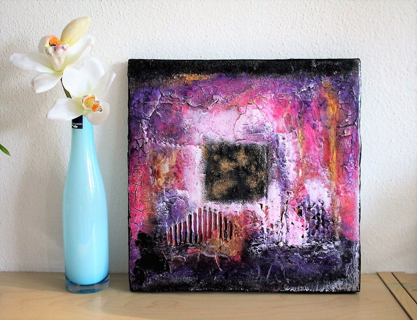 Original Abstraktes Gemalde Klein Struktur Bild Magenta Violett
