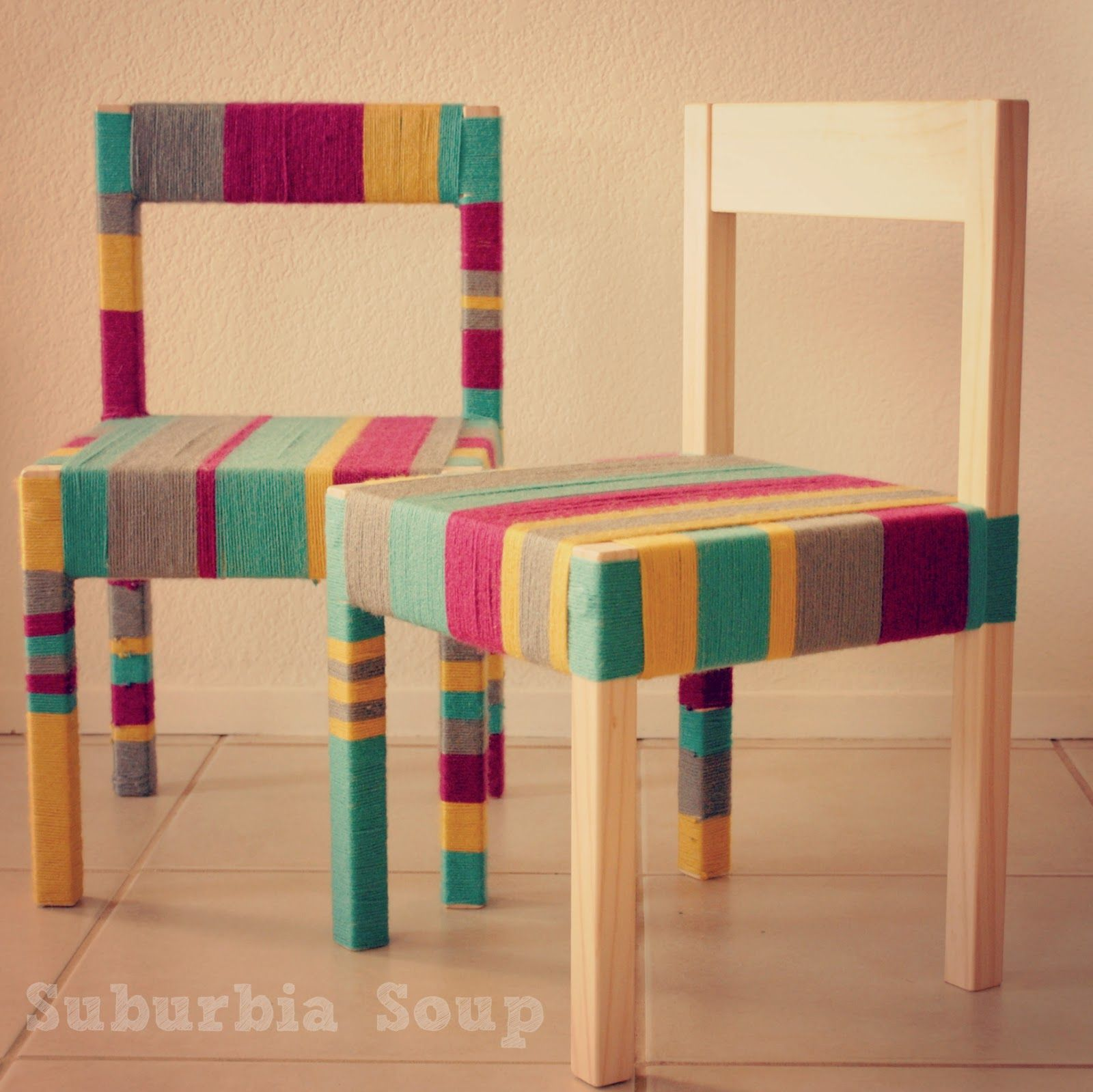 Latt Chairs Ikea Chairs Wrapped In Yarn And Hot Glue Gunned Wow