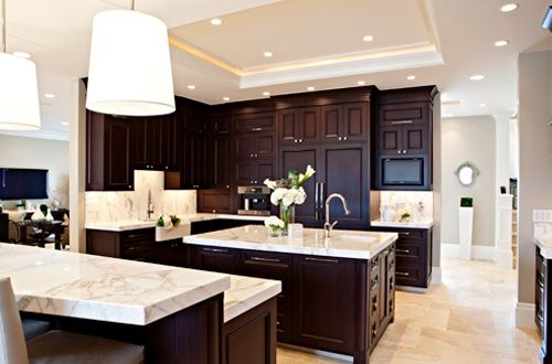 Light Floor Dark Cabinets Light Floors Dark Cabinets For The Home Home Decor Kitchen Home Kitchens Espresso Kitchen Cabinets