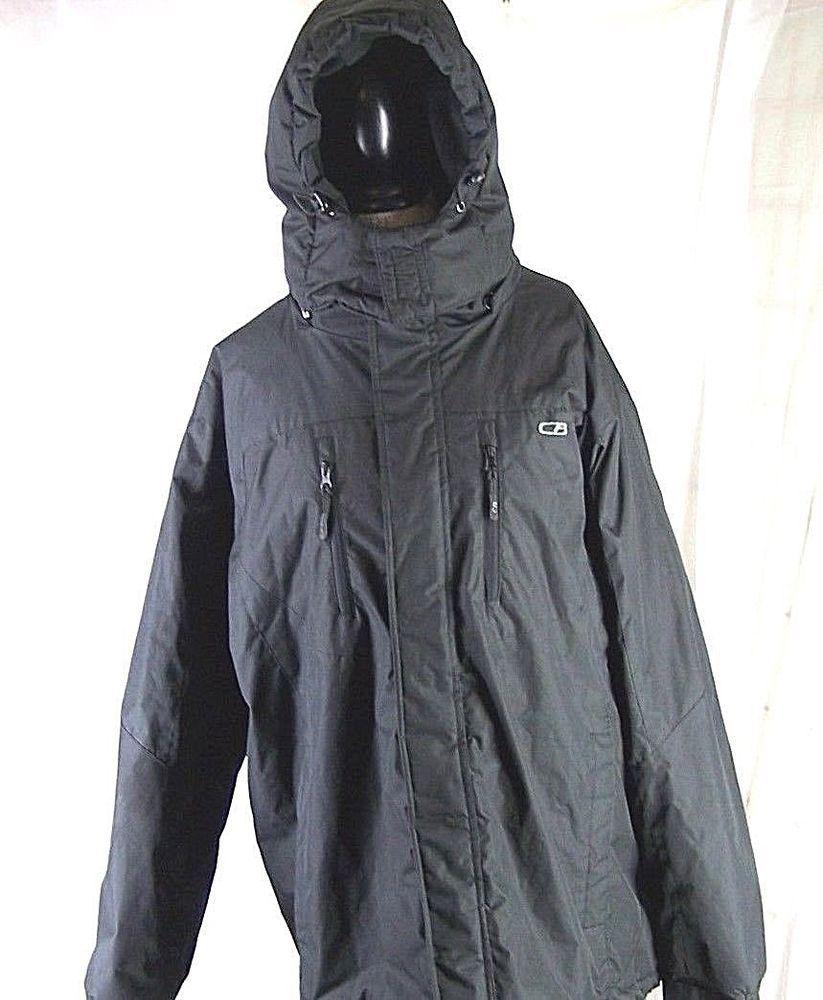 5453c7d48 CB Sports Snow Ski Jacket Black Men's XL Snorkel Hooded Winter Wear ...