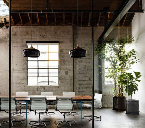 Wood Concrete Glass Office Plant Office Design Loft Office Modern Office Design