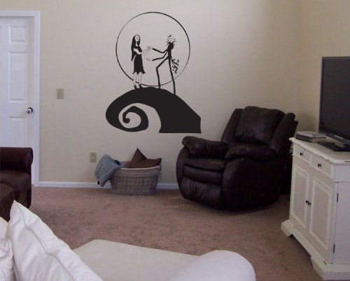 nightmare before christmas jack and sally vinyl wall decal decor httpwww - Nightmare Before Christmas Bedroom Decor