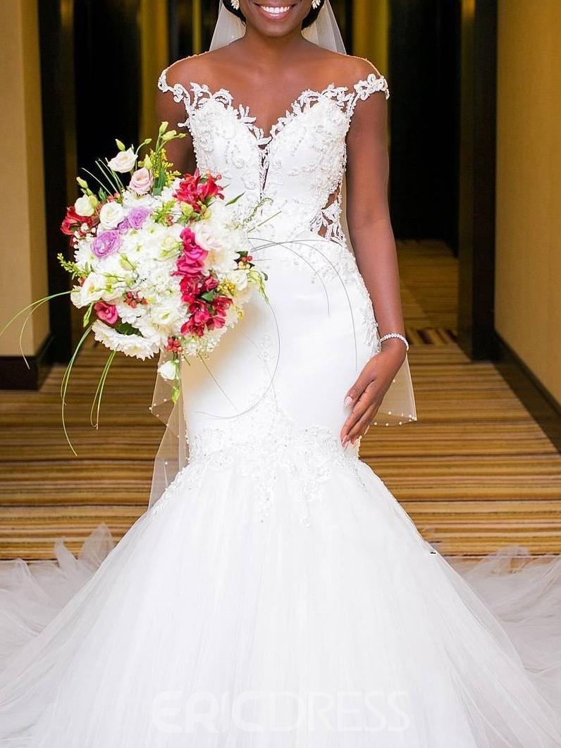 Ericdress Mermaid Appliques Plus Size Wedding Dress 2019