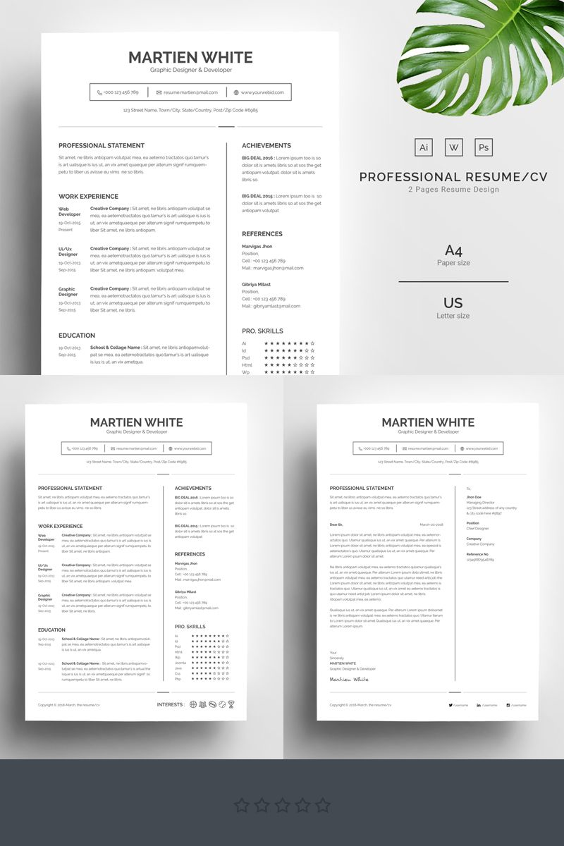 Martien White Professional Resume Template 67730