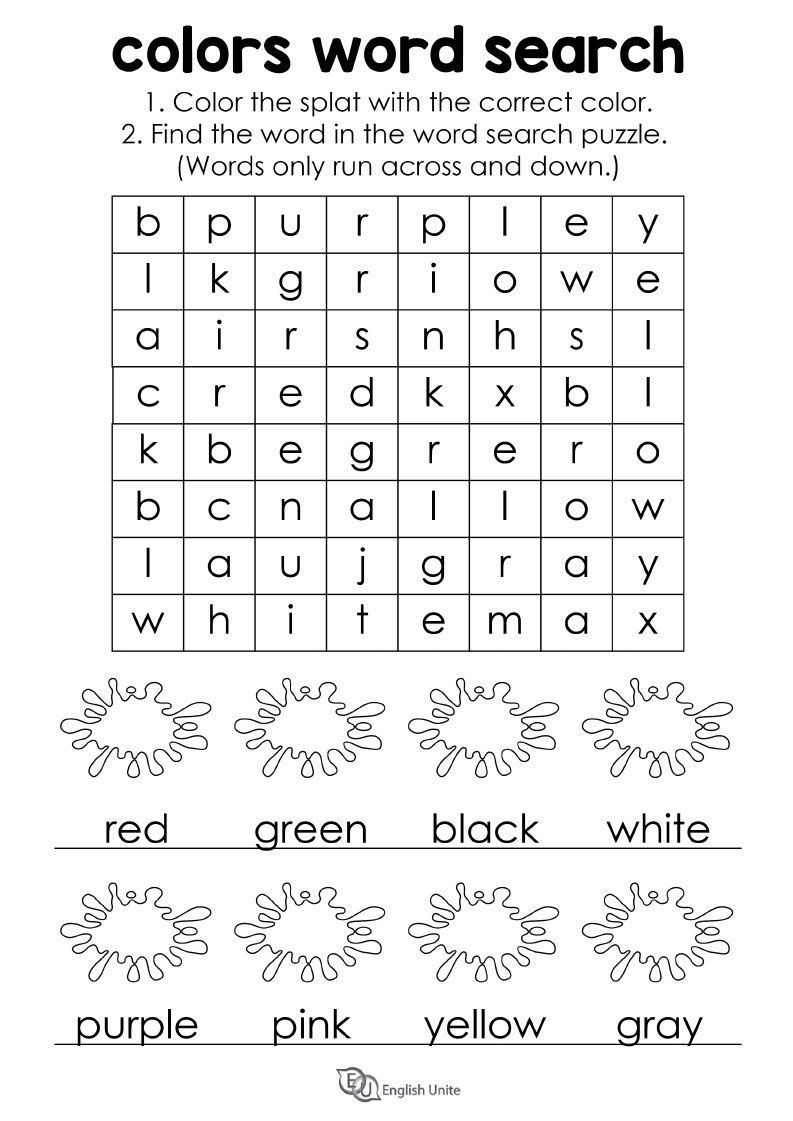 Word Search Colors Color The Splat With The Correct Color Then Find The Word In The Word Sea Word Puzzles For Kids English Worksheets For Kids Word Puzzles [ 1121 x 793 Pixel ]