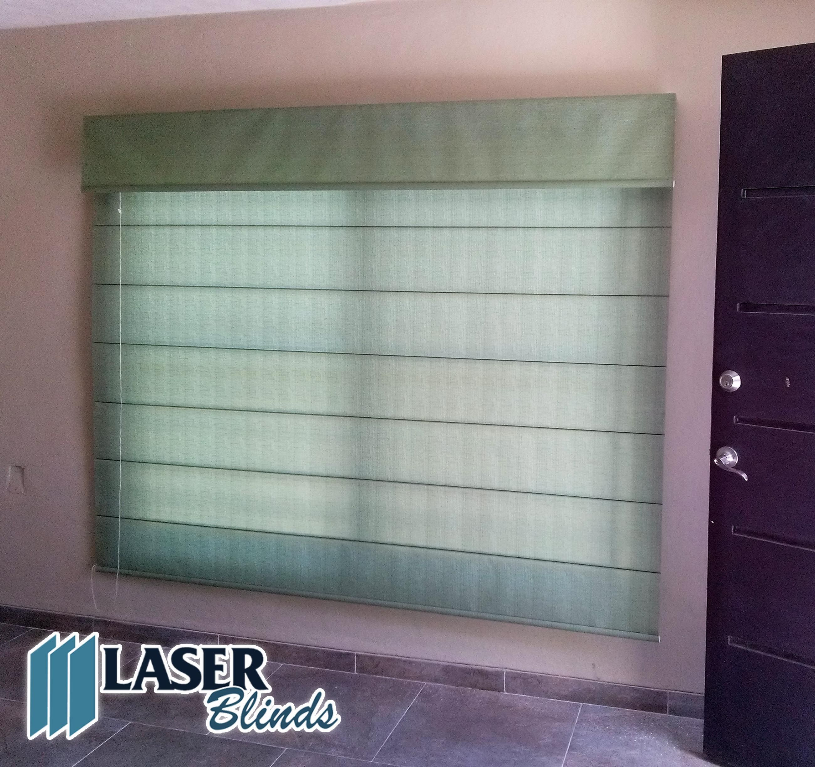 Persiana romana traslucida color verde laser blinds for Decoracion hogar verde