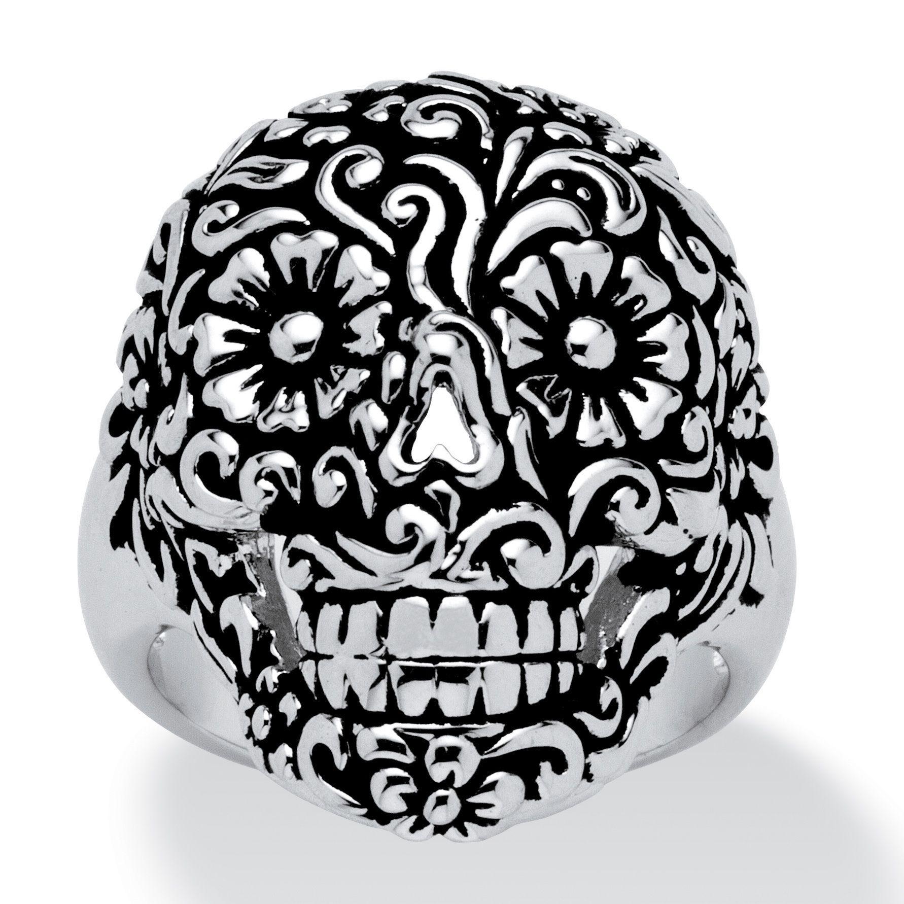 <li>Flower sugar skull ring</li><li>Platinum-plated brass jewelry</li><li><a href='http://www.overstock.com/downloads/pdf/2010_RingSizing.pdf'><span class='links'>Click here for ring sizing guide</span></a></li>