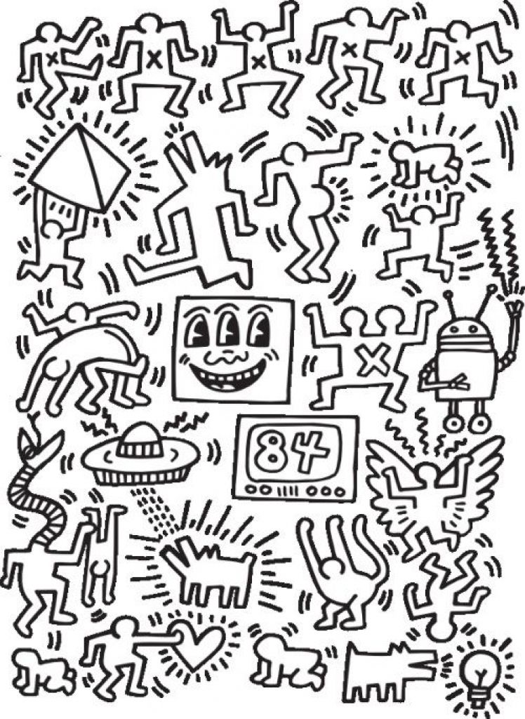 Coloring Pages Keith Haring Drawing Throughout Keith Haring