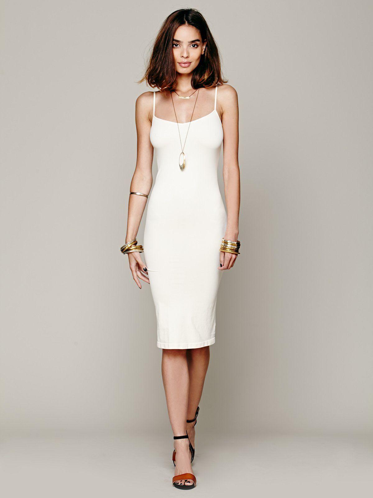 Tea Length Seamless Slip In 2021 Affordable White Dresses Seamless Slip Stretchy Dress [ 1602 x 1200 Pixel ]