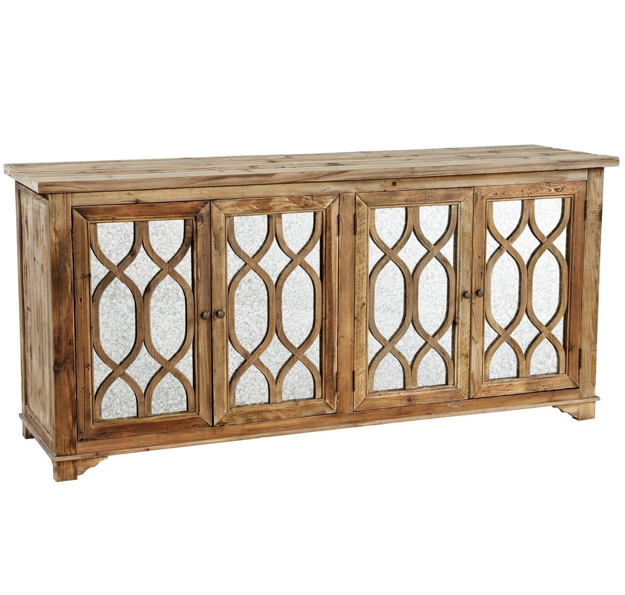 Online Home Furnishing Sites: French Lattice Reclaimed Wood 4 Door Mirrored Sideboard In