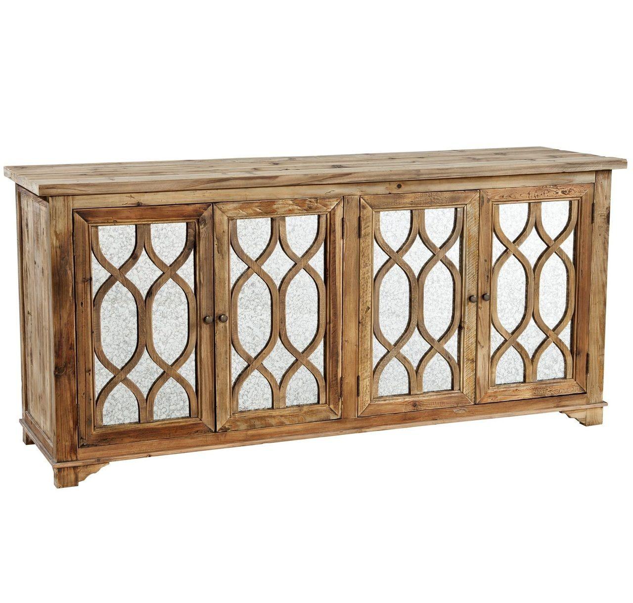 French Lattice Reclaimed Wood 4 Door Mirrored Sideboard In