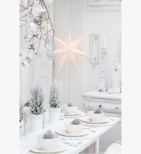 dco de nol une belle table blanche - Decoration De Noel Blanche