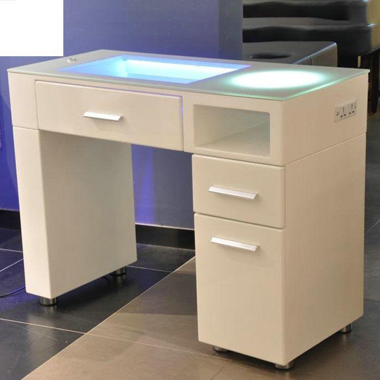 Portable Glass Salon Furniture Nail Technician Desk Spa Manicure