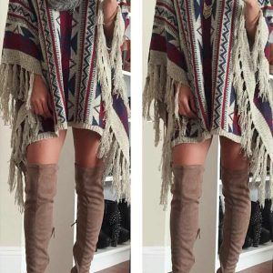 Cupshe Moving Tassel Jacquard Casual Sweater