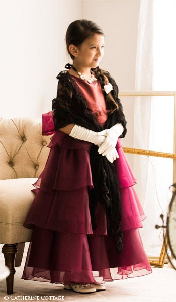 51422ffc27c4b 商品番号: CC0312 子どもドレス サーキュラーフリルオーガンジードレス 120 130cm 赤 ボルドー ワインレッド 発表会 結婚式 キッズ