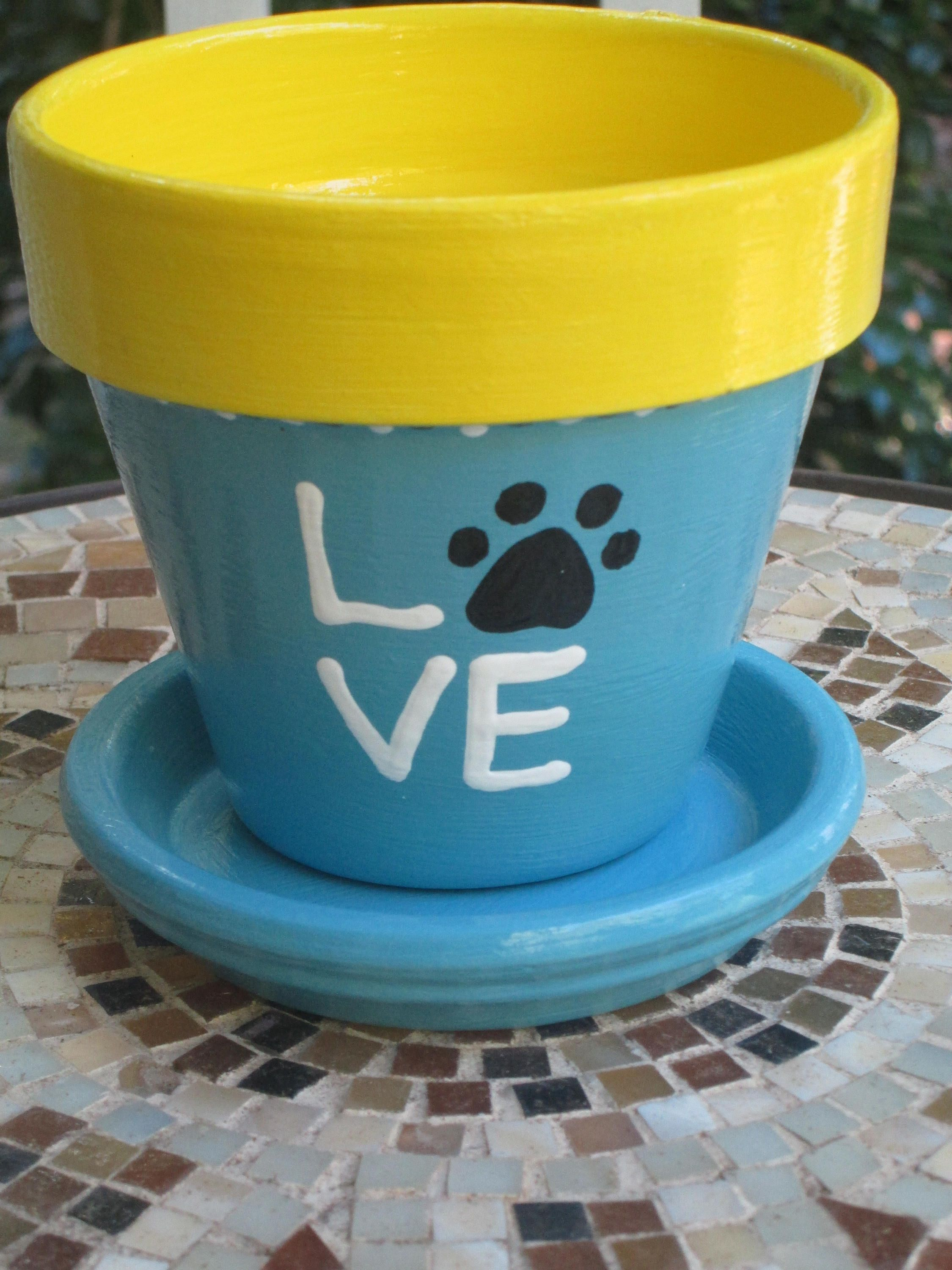 4 Inch Hand Painted Clay Pot And Saucer Love My Pet Outdoor Flower Pot Outdoor Planter Pet Memorial By Povyart On Etsy Painted Clay Pots Clay Pots Flower Pots