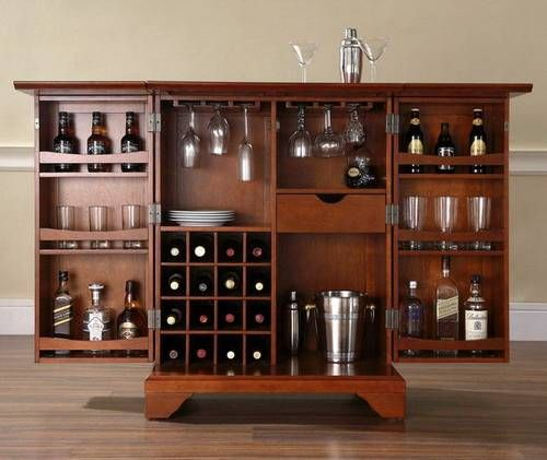 Home Design and Interior Design Gallery of Awesome Classic Cherry Finish Expandable Bar Cabinet Inspration Picture