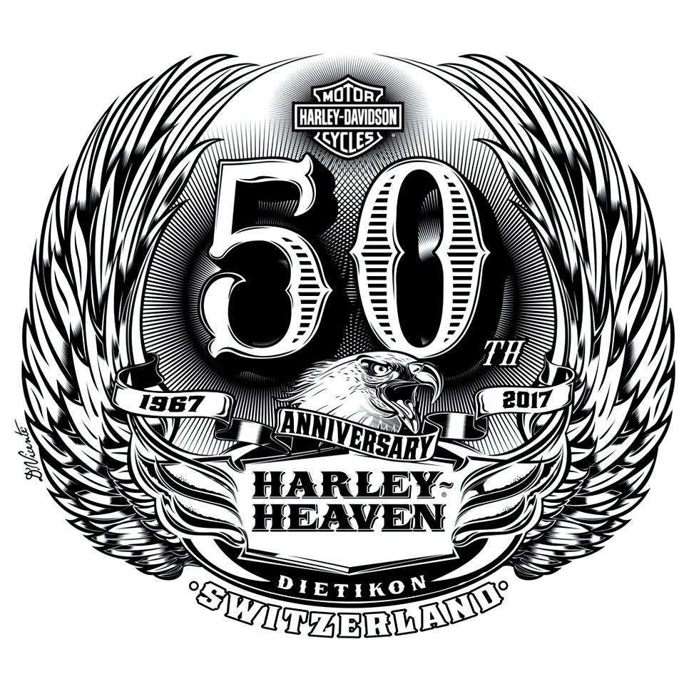 """Logo Design """"HARLEYHEAVEN 50th ANNIVERSARY"""" Switzerland"""