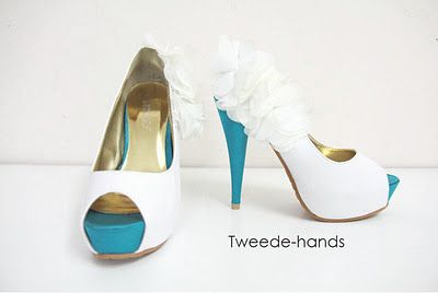Chiffon flowers on heels