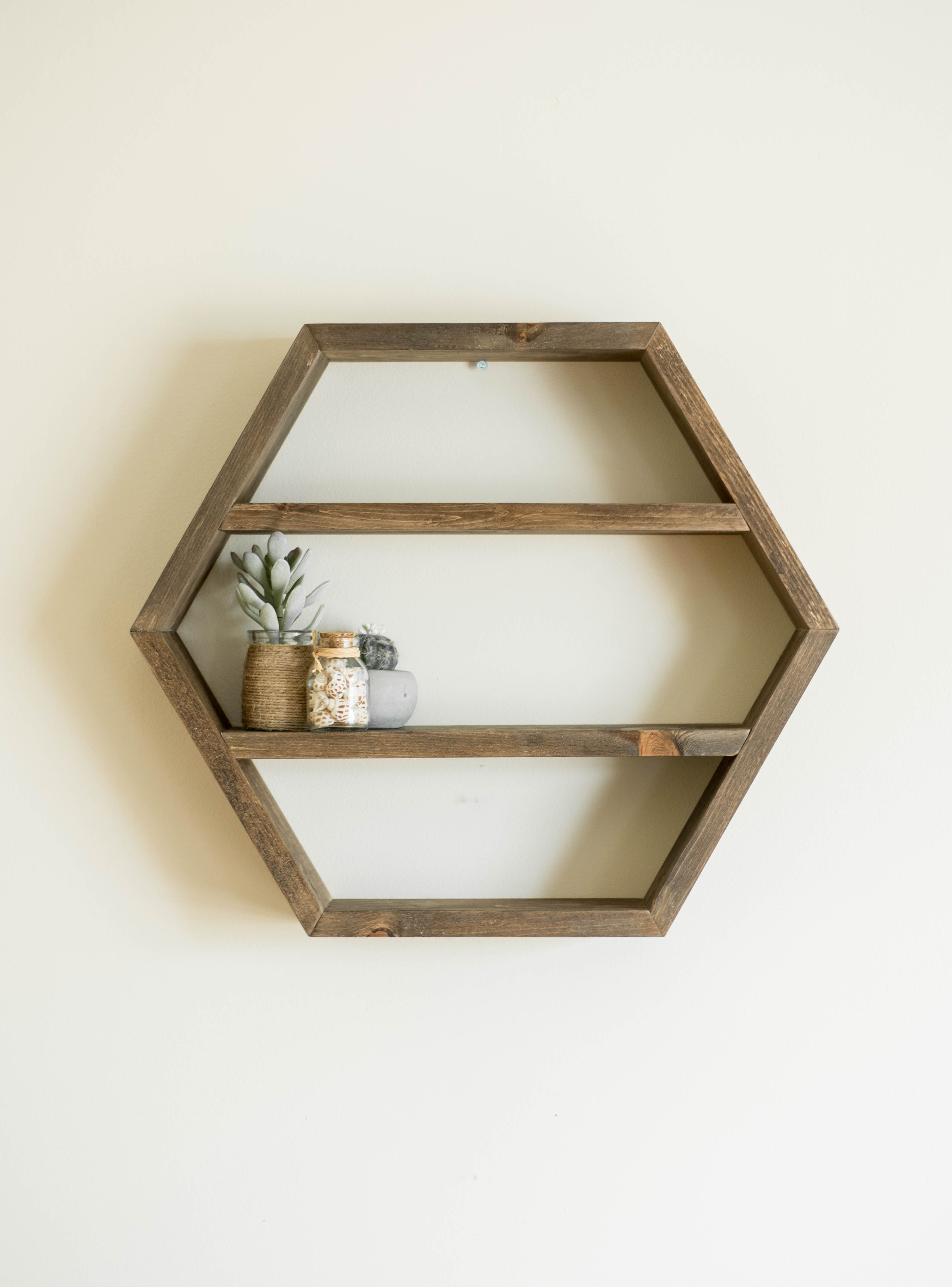 Large Wood Hexagon Shelf Essential Oil Wall Rack Spice Organizer Nursery Toy Storage Doterra Young Living Holder Geometric Bedroom Art Hexagon Shelves Wood Hexagon Shelves