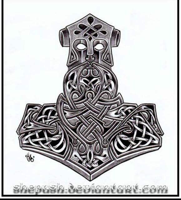 Mjolnir Hammer Of Thor Norse Tattoo Thor Hammer Tattoo Mjolnir Tattoo