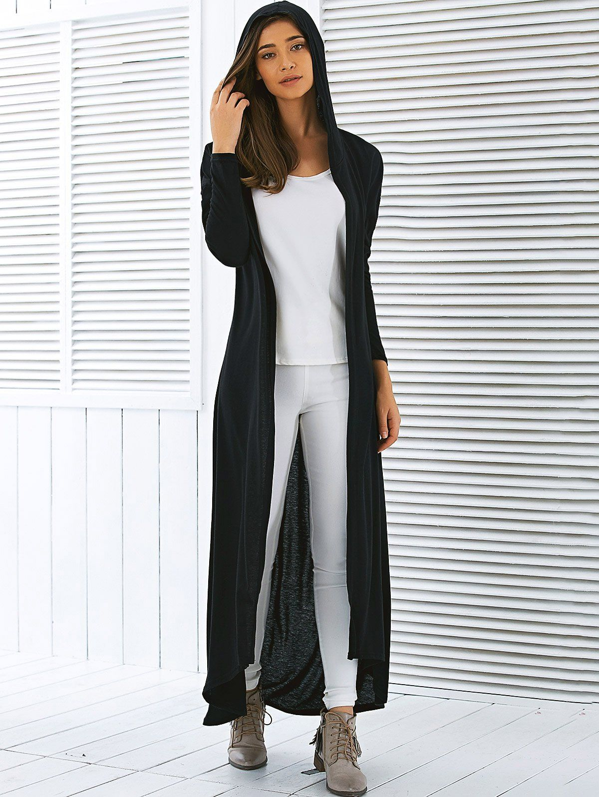 Hooded Long Sleeve Maxi Cardigan | Maxi cardigan, Long sleeve maxi ...
