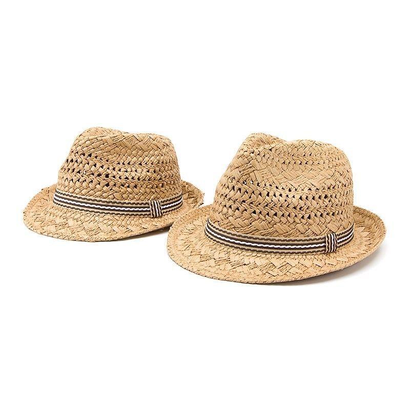 4a2a39ede5b Men Women Kid Children Boy Girl Fedora Trilby Soft Straw Hats Sunhat Caps  Summer