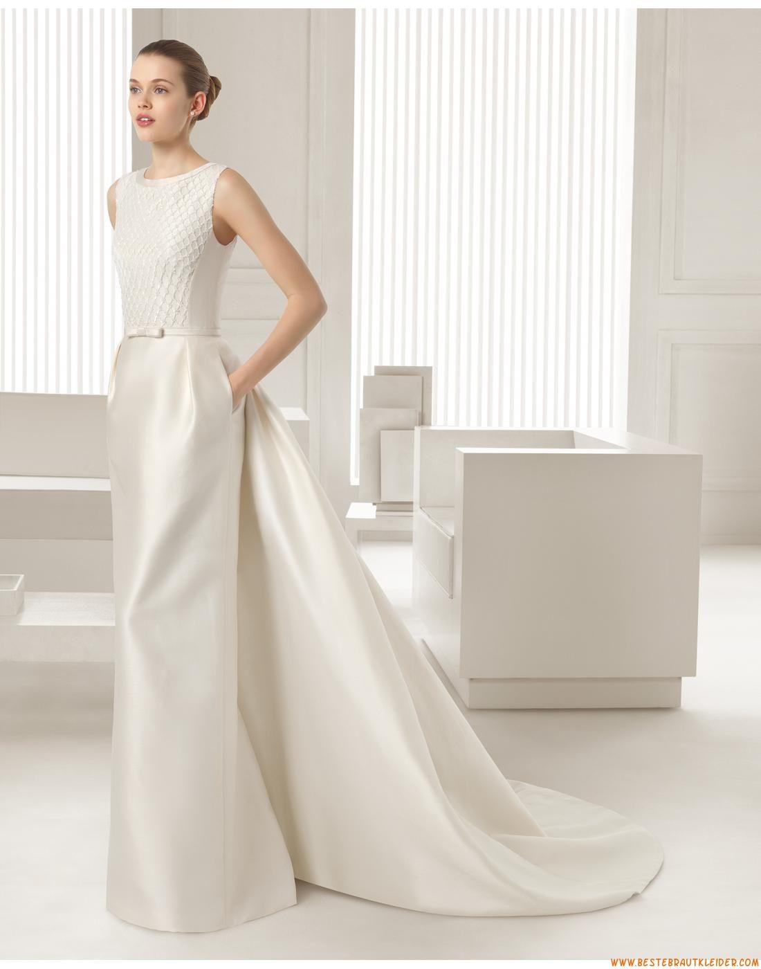 Exklusive Schlichte Ausgefallene Brautkleider aus Taft mit Schleppe ...