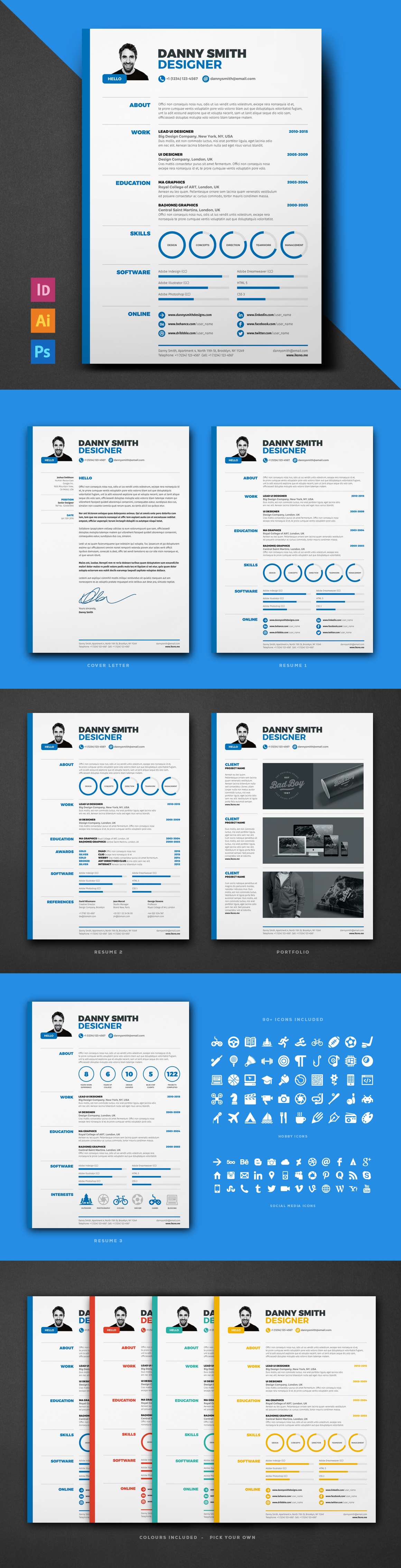 RESUME 1 is and easy to edit and customise templates supplied in