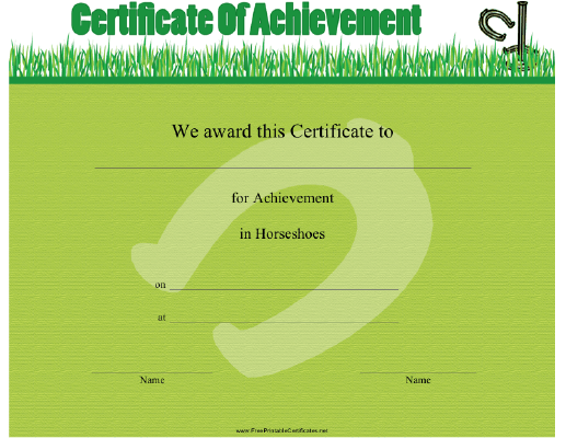 This Horseshoes Achievement Certificate Features A Horseshoe In
