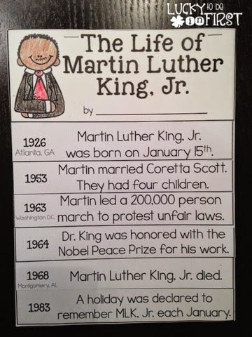 Martin Luther King Jr Timeline Flip Book And Other Great MLK Day Activities