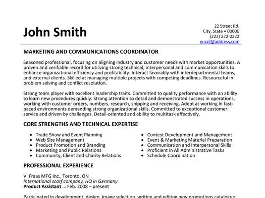 Marketing and Communications Coordinator resume template Want it - public relations intern resume