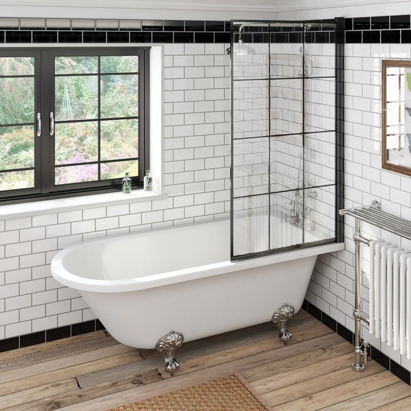 The Bath Co Dulwich Freestanding Shower Bath With 8mm Black Framed Shower Screen 1710 X In 2020 Freestanding Bath With Shower Free Standing Bath Tub Shower Over Bath