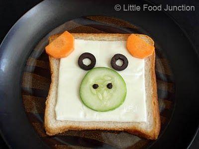 miss piggy wiggy sandwich bread cheese carrot cucumber olives egg pepper corns
