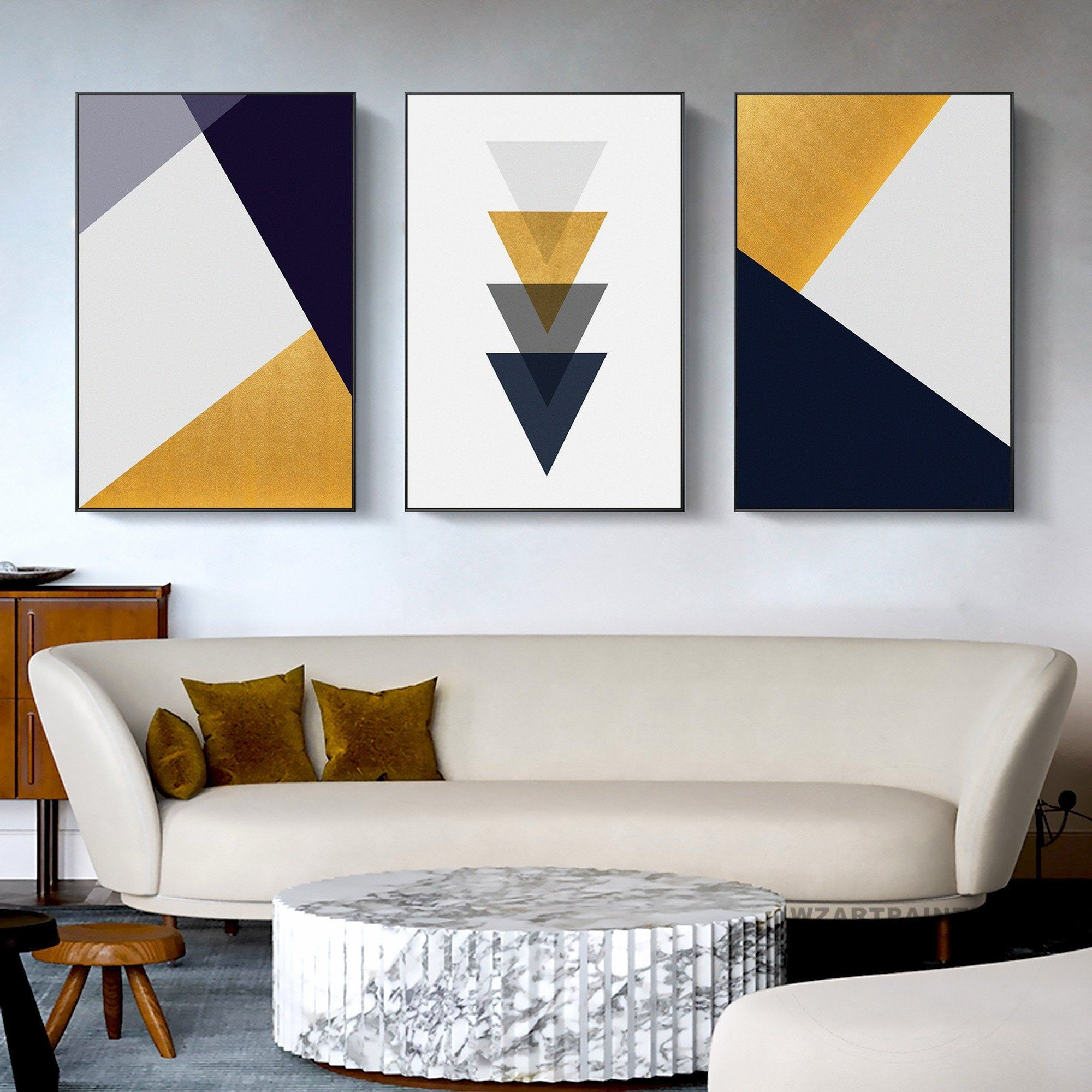 Set Of 3 Framed Wall Art Prints Geometric Abstract Black Yellow White Grey Print Painting On Canvas Diy Canvas Wall Art Geometric Wall Art Canvas Painting Diy