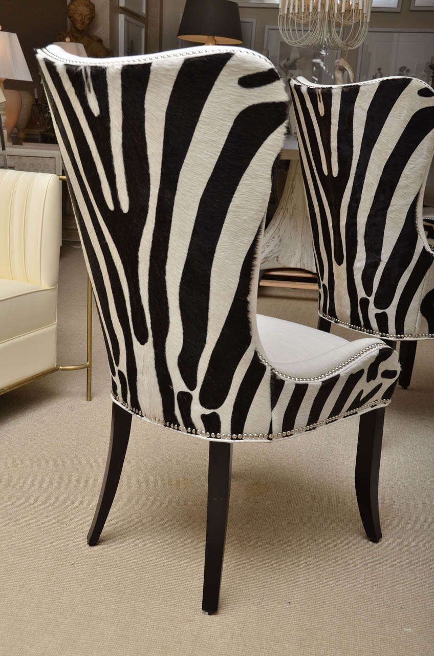 set of eight zebra stenciled cowhide dining chairs | dining chairs