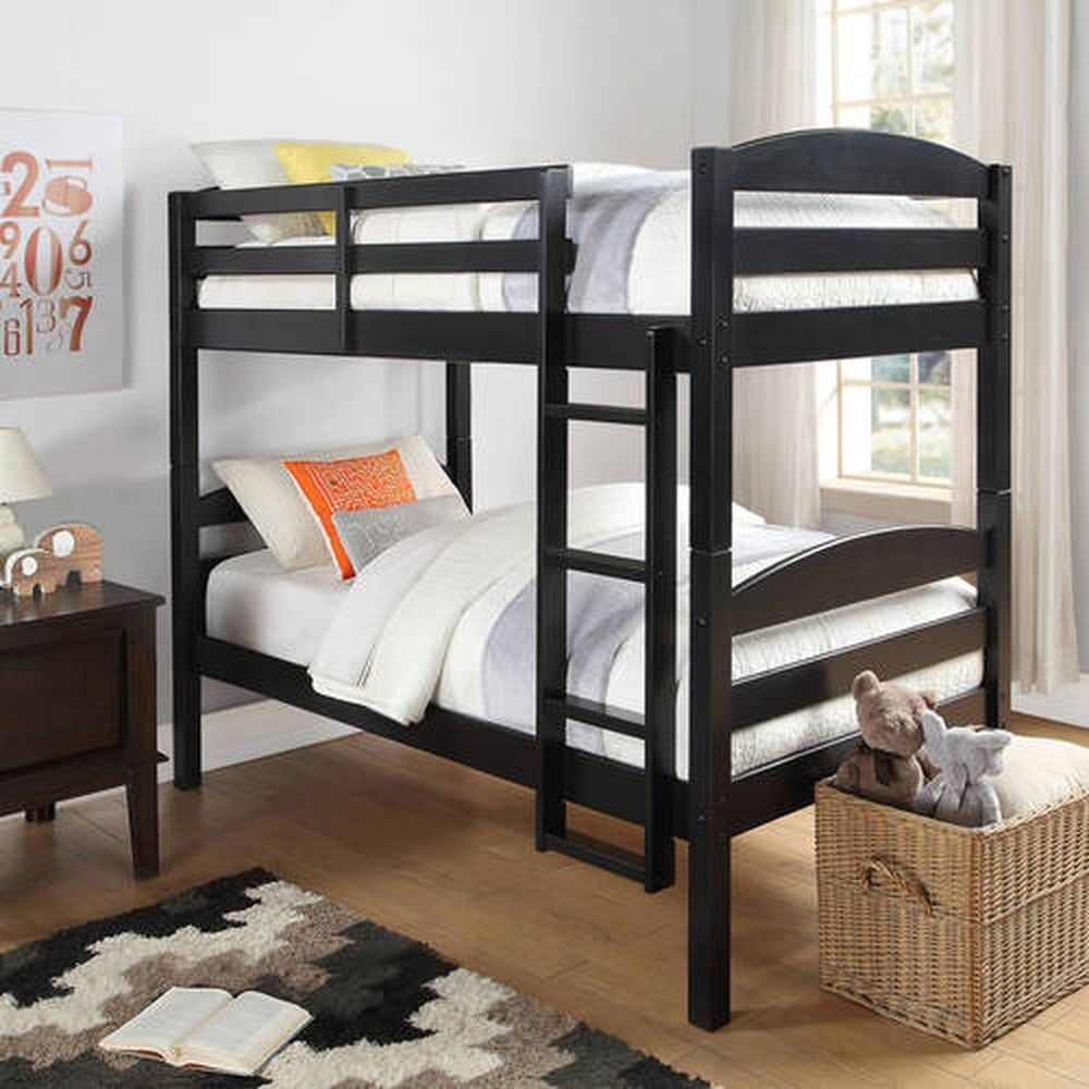 black bunk bed twin over twin size frame ladder kids teen wood