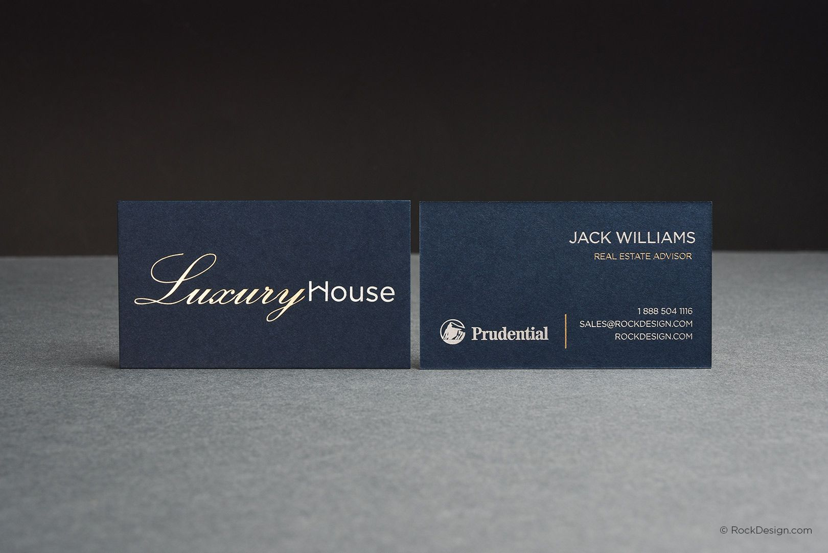 Professional realtor navy card with foil stamping - Luxury House ...