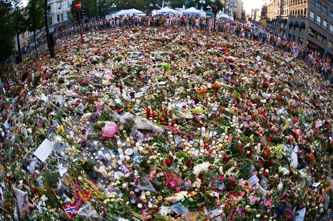 Sea of flowers and light outside Oslo Domkirke after the massacre of 22 july 2012