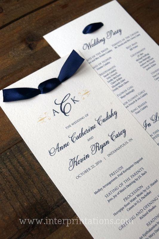 Ivory And Navy Blue Wedding Ceremony Program With Satin Ribbon Tea Length By Www Interprintations Indianapolis Custom
