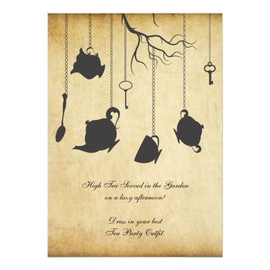 Alice in Wonderland Unbirthday Birthday Tea Party Card #area51partyoutfit