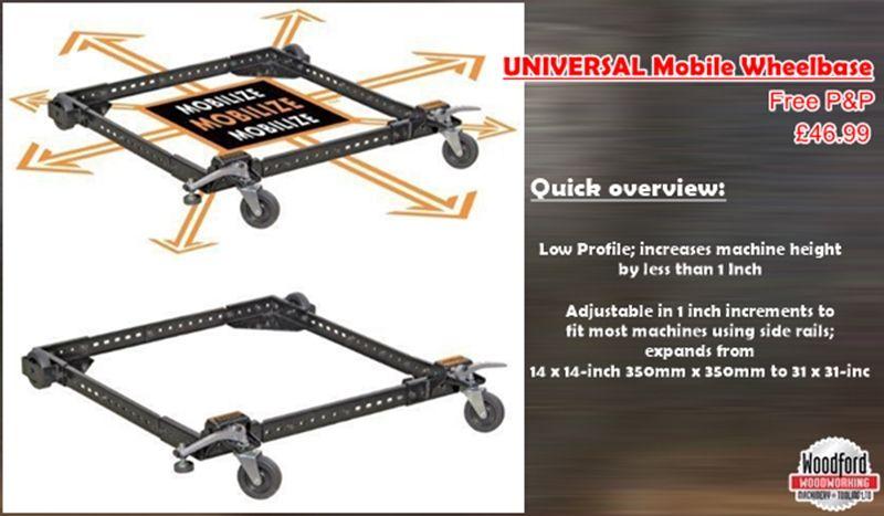 Woodworking UNIVERSAL Mobile Wheel Base Wheelbase Adjustable Frame 250 KG