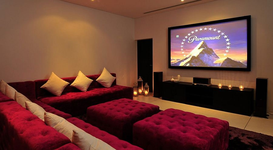 Contemporary Home Theater Room Furniture. Modern Home Theater In The Phuket  Villa Decorated With Pink Part 92